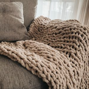 Chunky Hand-Knit Throw Blanket